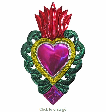 Large Painted Tin Scalloped Heart Ornaments - Box of 2