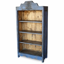 Large Painted Wood Santa Fe Bookcase Blue