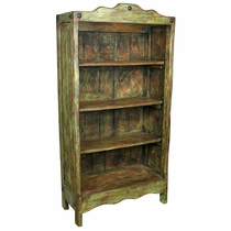 Large Painted Wood Santa Fe Bookcase Green