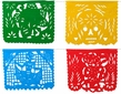 Large Plastic Picado Banners Day of the Dead - Set of 2