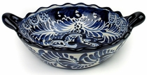 Large Talavera Cazuela Bowl - Blue & White