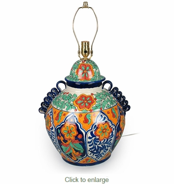 Beau Large Talavera Ginger Jar Lamp Base