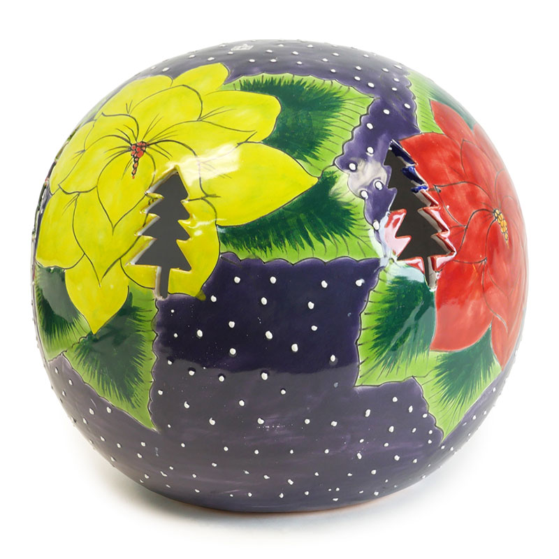 large talavera poinsettia luminary globe with christmas tree cutouts - Large Christmas Tree