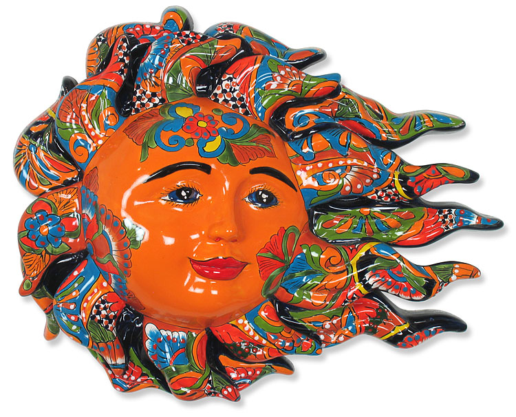 sc 1 st  Direct From Mexico & Large Talavera Sun Face with Wind Blown Flames