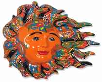 Large Talavera Sun Face with Wind Blown Flames