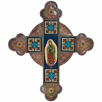 Large Painted Tin and Talavera Tile Cross with Virgin