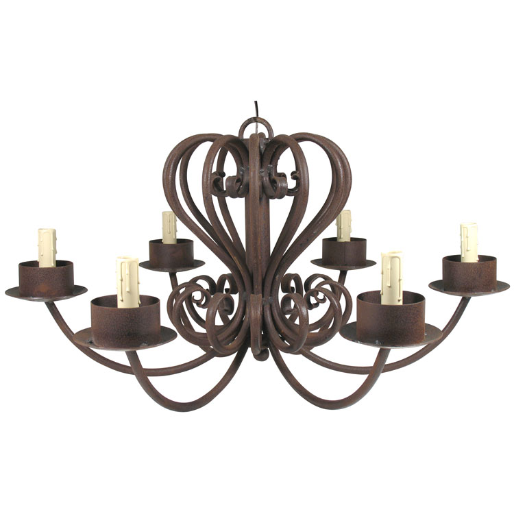 Large Wrought Iron Chandelier 6 Armed