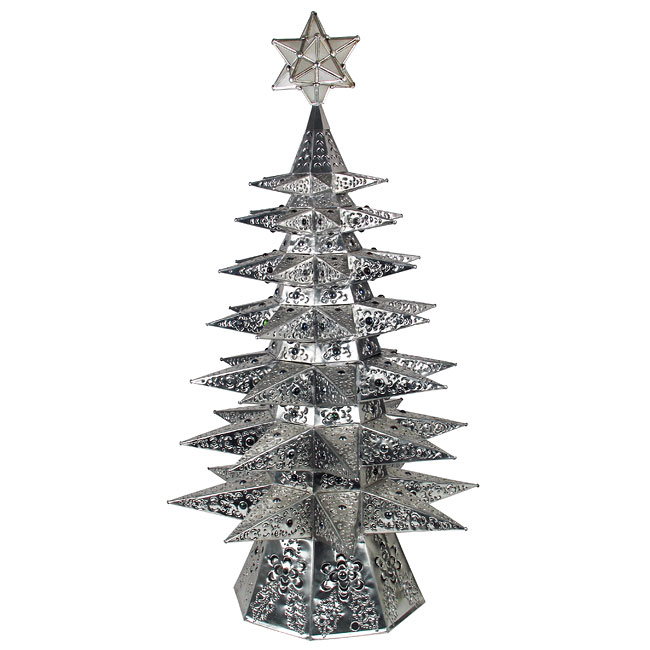 lighted natural punched tin star christmas tree with colored marbles - Iron Christmas Tree