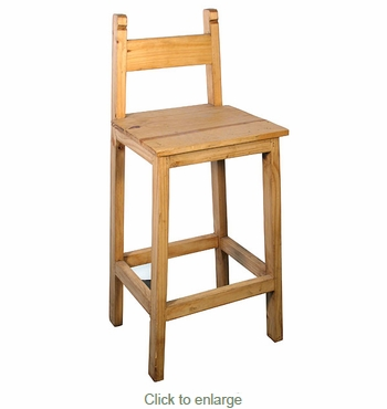 Low Back Rustic Pine Bar Stool