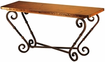 Margarita Iron Base Console Table with Copper Top