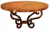 Margarita Round Iron Base Coffee Table with Copper Top