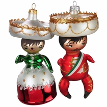 Mariachi & China Couple Glass Ornaments - Box of 2