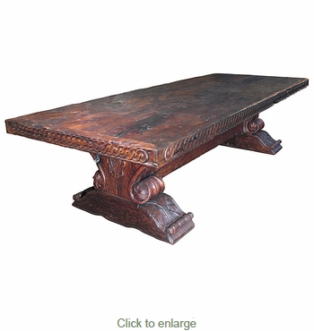 Massive Distressed Mesquite Carved Dining Table