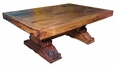 Massive Mesquite Coffee Table with Carved Trestle Base