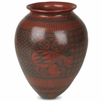 Mata Ortiz Native Design Red Vase