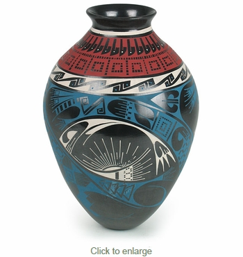 Mata Ortiz Pottery Native Sun Vase