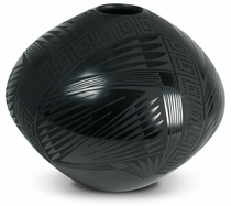 Mata Ortiz Small Hole Black Vase