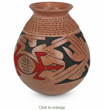 Mata Ortiz Textured Vase with Gecko and Southwest Designs