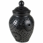 Medium Black Clay Etched Oaxacan Urn