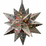 Medium Natural Tin Stained Gl Star Fixture