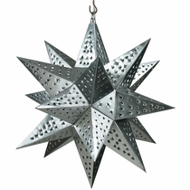 "Medium Natural Tin Star Light Fixture - 16"" Dia."