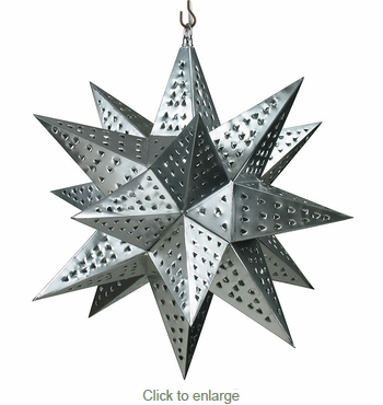 Medium Natural Tin Star Light Fixture - 16