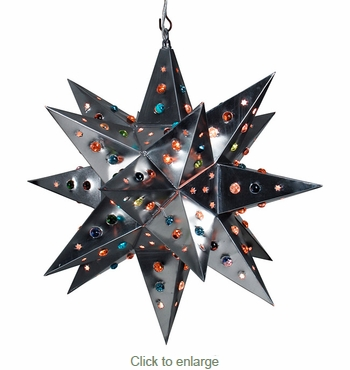 Medium Natural Tin Star Light with Colored Marbles