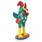 "Painted Clay Mexican Folk Art Rooster Statue - 10"" Tall"