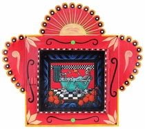 Medium Painted Tin Nicho with Catrina Print