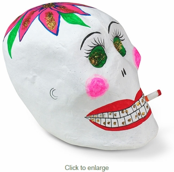 Medium Paper Mache Smoking Skull