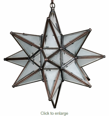 Moravian Glass Star Light Hanging Pendant - Partially Frosted - 15