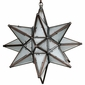 "Moravian Glass Star Light Hanging Pendant - Partially Frosted - 15"" Dia."