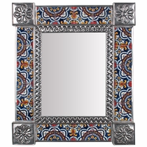 "Medium Rectangular Mexican Tin Mirror with Talavera Tile Insets - 13"" x 15.25"""