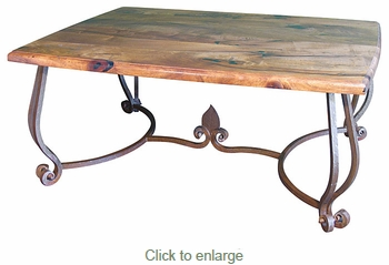 Mesquite Coffee Table with Ornate Iron Base