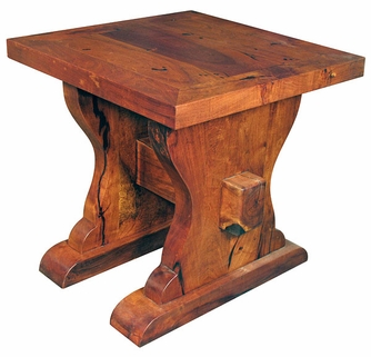 Lacquered Mesquite Ranch Style End Table - Ranch style table