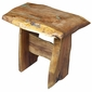 Mesquite Slab Trestle End Table with Turquoise Inlay