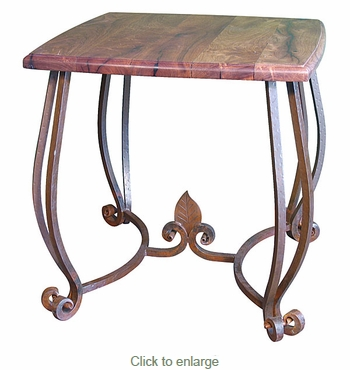 Mesquite Square End Table with Iron Base