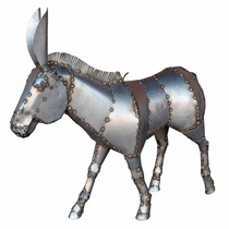 "Metal Art Donkey Yard Sculpture - 36"" Tall"