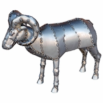 "Metal Big Horn Sheep Sculpture - Small - 26"" Tall"