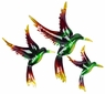 Metal Hummingbird Wall Art Accents - Set of Three