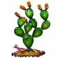 "Metal Southwest Prickly Pear Cactus Scene Wall Art - 30"" Tall"