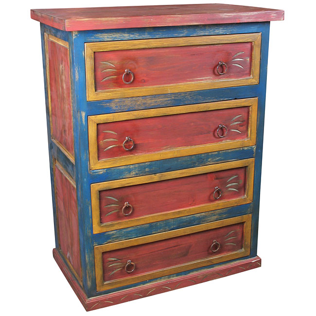 Mexican 4 Drawer Painted Wood Dresser Red Yellow And Blue