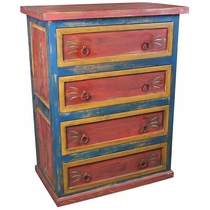 Mexican 4-Drawer Painted Wood Dresser - Red, Yellow and Blue