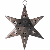Mexican Aged Tin Half Star Ornament - Set of 2