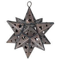 Mexican Aged Tin Star Ornament - Set of 2