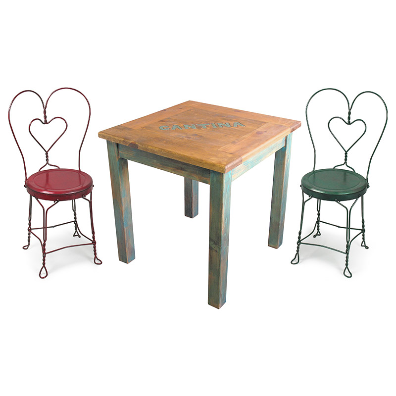 Mexican Cantina Table Set With 4 Ice Cream Parlor Chairs