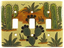 Mexican Ceramic Triple Switch Plate - Cactus