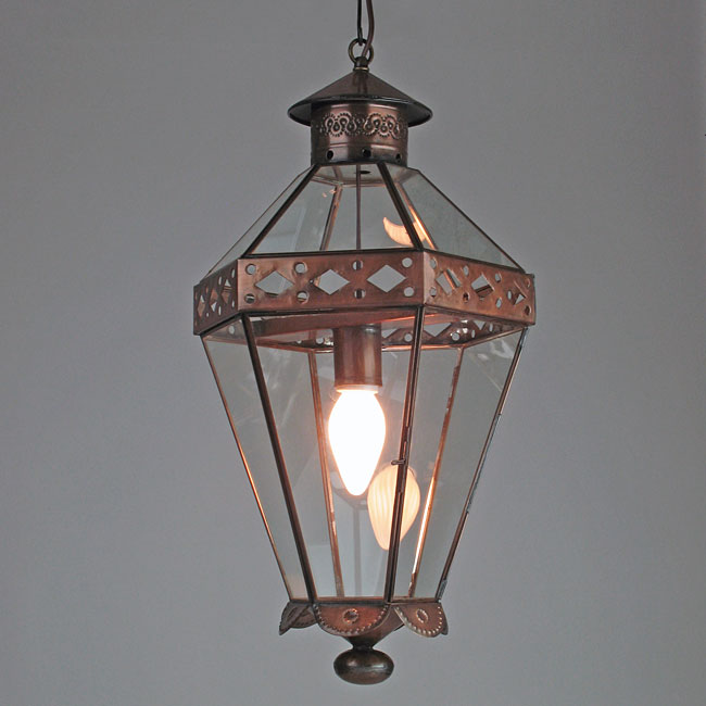 Mexican Colonial Tin and Glass Panel Hanging Light Fixture