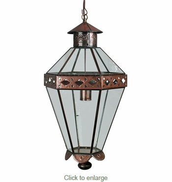 Mexican Colonial Tin and Glass Hanging Light Fixture