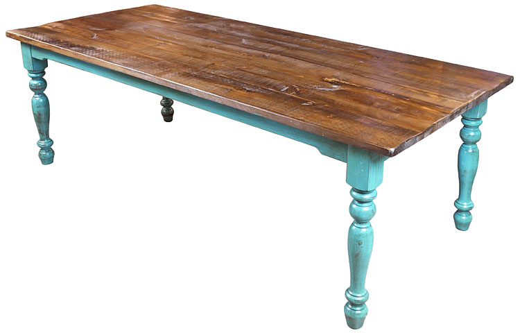 Preferred 8 ft. Mexican Colonial Turquoise Painted Wood Dining Table XA54